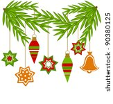 christmas hanging ornaments... | Shutterstock .eps vector #90380125