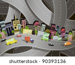 abstract illustration of a city on the background of the site roads - stock vector