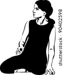 a girl in a black leotard sits... | Shutterstock . vector #90402598