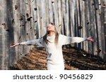 beautiful blonde girl with... | Shutterstock . vector #90456829