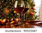 Red Wine On Table Christmas...