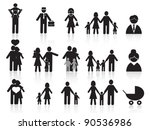 black happy family icons set - stock vector