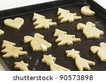 Baking Christmas cookies - stock photo