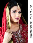 muslim indian bride wearing a... | Shutterstock . vector #90575272