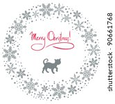 christmas background with cat... | Shutterstock . vector #90661768