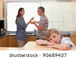sad little boy hearing his... | Shutterstock . vector #90689437