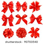 big set of red gift bows with... | Shutterstock . vector #90703540