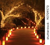 Trees And Path Lit With Holida...