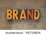 brand word in vintage wood... | Shutterstock . vector #90719854