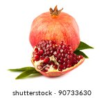 ripe pomegranate with leaves... | Shutterstock . vector #90733630