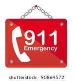911 emergency red board... | Shutterstock .eps vector #90864572