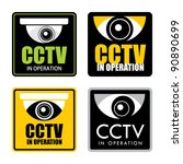 Set of surveillance CCTV signs, vector. - stock vector