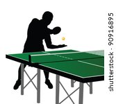 ping pong player silhouette... | Shutterstock .eps vector #90916895