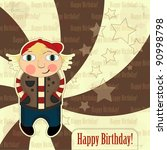 greeting card with boy in... | Shutterstock . vector #90998798