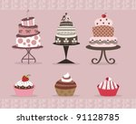 delicious cakes and cup cakes... | Shutterstock .eps vector #91128785