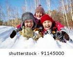 happy children in winterwear... | Shutterstock . vector #91145000