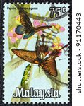 """Small photo of MALAYSIA - CIRCA 1970: A stamp printed in Malaysia from the """"National"""" issue shows Papilio memnon agenor butterflies, circa 1970."""