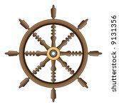 wooden ship's wheel | Shutterstock . vector #9131356