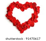 Stock photo beautiful heart of red rose petals isolated on white 91470617