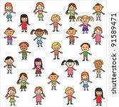 vector of colorful children... | Shutterstock .eps vector #91589471