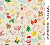 christmas rich pattern with... | Shutterstock . vector #91611653