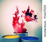 3d image of color metal tank... | Shutterstock . vector #91627025