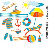 stylized icons beach set... | Shutterstock . vector #91629281