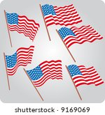 a set of six usa flags in... | Shutterstock .eps vector #9169069
