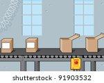 conveyor belt with boxes | Shutterstock .eps vector #91903532