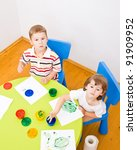 boy and girl paint colors... | Shutterstock . vector #91909952