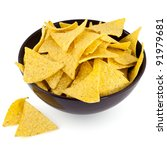 nachos chips in bowl | Shutterstock . vector #91979681