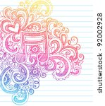 music note sketchy back to... | Shutterstock .eps vector #92002928