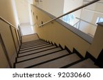 Top view of the long staircase in new premises - stock photo