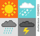 Pixel Weather Symbols - stock vector