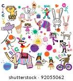 happy kids. circus  birthday ... | Shutterstock .eps vector #92055062
