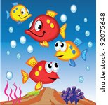 fish cartoons | Shutterstock .eps vector #92075648