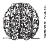 letter m   vintage illustration ... | Shutterstock .eps vector #92087531
