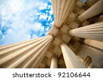Columns at the U.S. Supreme Court - stock photo