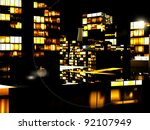 Business District at Night - stock photo