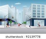 big city scene | Shutterstock .eps vector #92139778