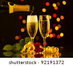 champagne glasses and bottle... | Shutterstock . vector #92191372