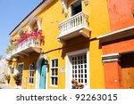 Spanish colonial house. Cartagena de Indias, Colombia's Caribbean Zone. - stock photo