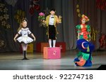 "DNEPROPETROVSK, UKRAINE - JUNE 4: Unidentified Children, ages 6-10 years old, perform musical spectacle ""Neznaika"" on June 4, 2011 in Dnepropetrovsk, Ukraine - stock photo"