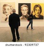 milan   april 08  people look... | Shutterstock . vector #92309737