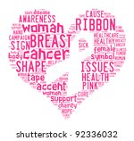 breast cancer awareness ribbon info-text graphics and arrangement concept on white background - stock photo