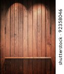 empty wood shelf on wall with...   Shutterstock . vector #92358046