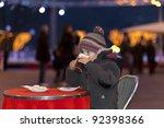 Boy Drinking A Hot Chocolate...