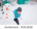 a boy and a snowman   a winter... | Shutterstock . vector #92411818
