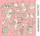 valentines day cartoon vector... | Shutterstock .eps vector #92417707