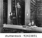 man talking to a woman standing ... | Shutterstock . vector #92423851